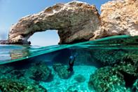 Cypriot marine ecologist Louis Hadjioannou dives to photograph the coral, as he monitors the impact of climate change on the delicate fauna in the crystal clear waters of Glyko Nero in Ayia Napa, off the island's southeastern shore