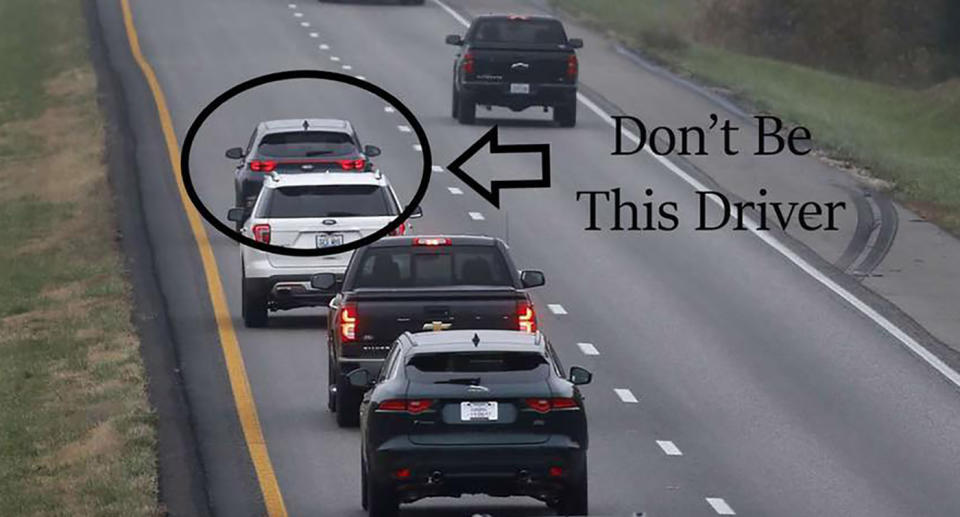 A car is pictured blocking other cars in an overtaking lane in Georgia, US.