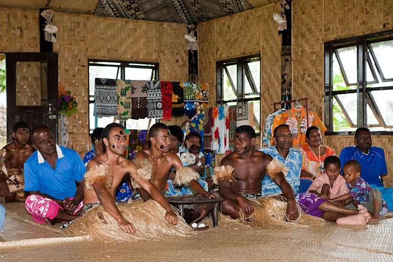 Fijian natives perform Kava Ceremony.
