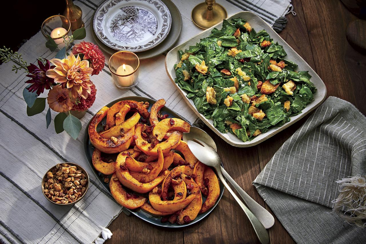 """<p><strong>Recipe: <a href=""""https://www.southernliving.com/recipes/candy-roaster-squash-sorghum-black-walnuts-cranberries"""">Candy Roaster Squash with Sorghum, Black Walnuts, and Cranberries</a></strong></p> <p>The sweet-meets-savory flavor of candy roaster squash beautifully combines with tart cranberries and black walnuts in this recipe to create the ultimate fall side dish. </p>"""