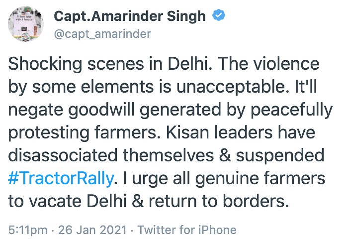 Punjab's CM condemns the violence on Twitter.