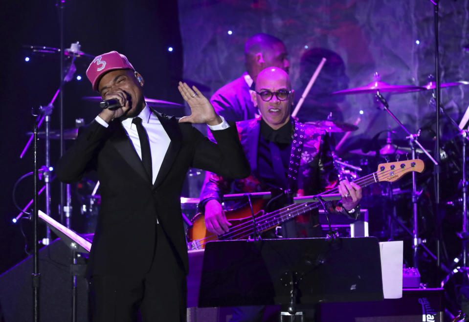 Chance the Rapper performs on stage at the Pre-Grammy Gala And Salute To Industry Icons at the Beverly Hilton Hotel on Saturday, Jan. 25, 2020, in Beverly Hills, Calif. (Photo by Willy Sanjuan/Invision/AP)