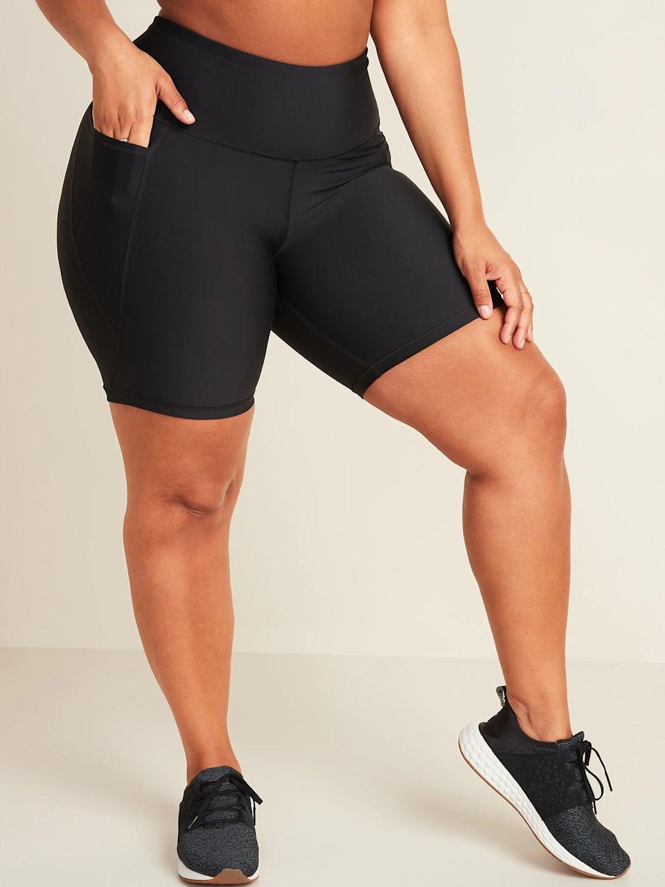 <p>These <span>Old Navy High-Waisted Elevate Powersoft Side-Pocket Biker Shorts</span> ($30) come in a shimmery fabric, making it a polished bottom for any blouse or fitted top.</p>