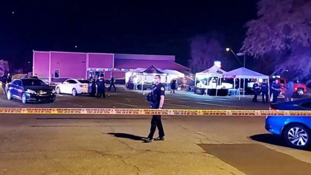 PHOTO: A police officers stand in a parking lot following a shooting that took place the night of Oct. 16, 2020, in Meza, Ariz. (Community Tap News/Phil Martinez via Reuters)