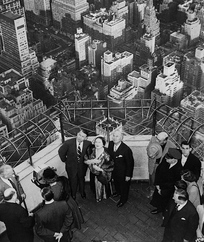 <p>In 1954, the Queen Mother made a visit to the top of the Empire State Building for a bird's-eye view of the city. </p>