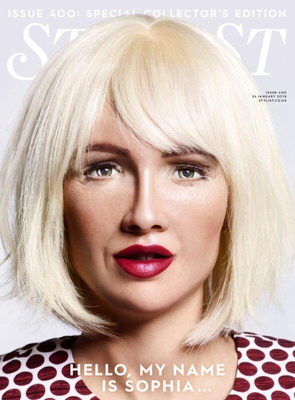 Sophia the Robot made her editorial debut as a cover star for <em>Stylist</em> magazine. (Photo: Stylist)