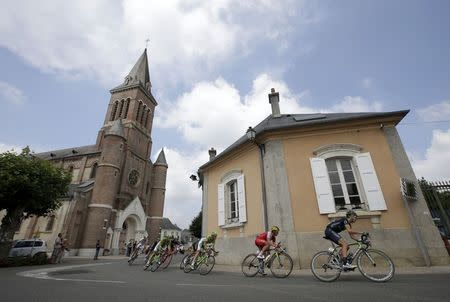 The pack of riders cycles during the 145.5km 18th stage of the Tour de France cycling race between Pau and Hautacam in the French Pyrennes mountains, July 24, 2014. REUTERS/Jacky Naegelen