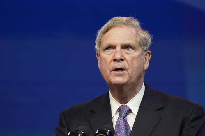 Agriculture Secretary Tom Vilsack speaks during an event at The Queen theater in Wilmington, Del.
