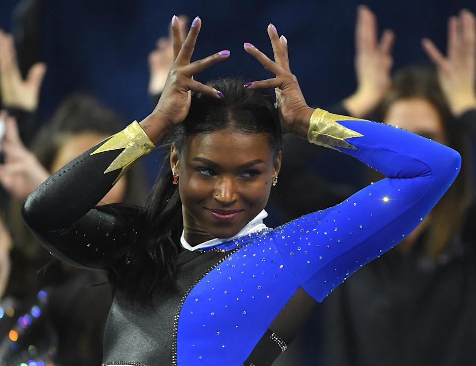 LOS ANGELES, CA - DECEMBER 14: Nia Dennis performs the floor exercise during UCLA Gymnastics Meet the Bruins intra squad event at Pauley Pavilion on December 14, 2019 in Los Angeles, California. (Photo by Jayne Kamin-Oncea/Getty Images)