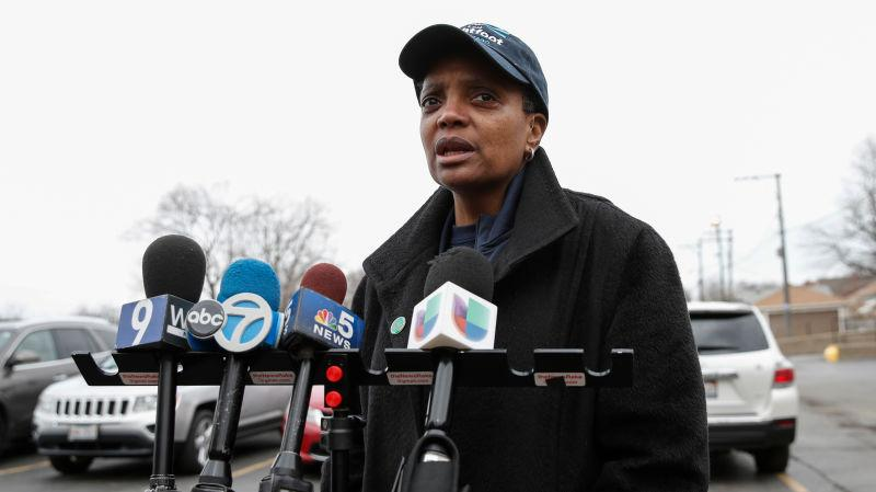 Lori Lightfoot speaks to the press outside of the polling place at the Saint Richard Catholic Church in Chicago, Illinois on April 2, 2019.