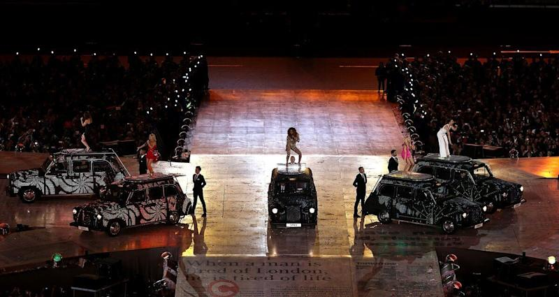 The Spice Girls perform during the London Olympic Games 2012 Closing Ceremony at the Olympic Stadium, London.