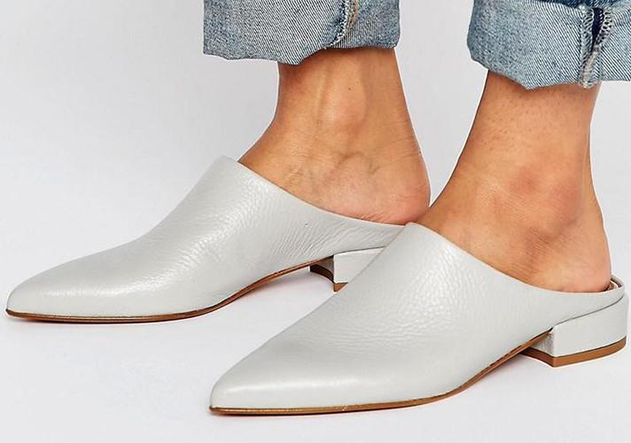 """ASOS Madrid Premium Leather Mule, $68; at <a rel=""""nofollow"""" href=""""http://us.asos.com/asos/asos-madrid-premium-leather-mule/prd/7376100?iid=7376100&clr=Gray&SearchQuery=&cid=6459&pgesize=204&pge=0&totalstyles=330&gridsize=3&gridrow=21&gridcolumn=3"""" rel="""""""">ASOS</a>"""