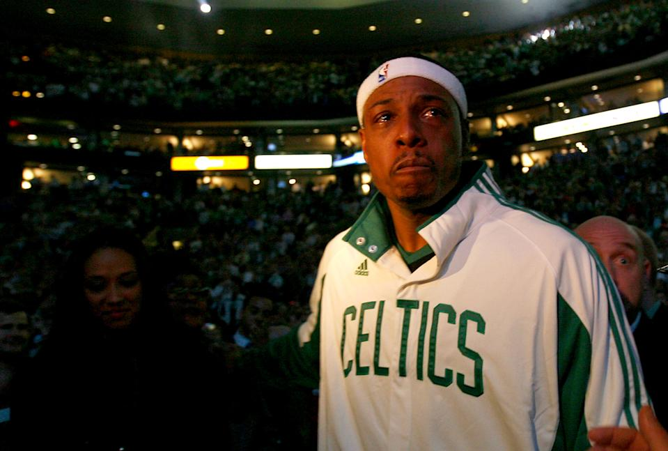 Boston Celtics legend Paul Pierce was moved to tears when he finally delivered a championship banner to TD Garden in 2008. (Jim Rogash/Getty Images)