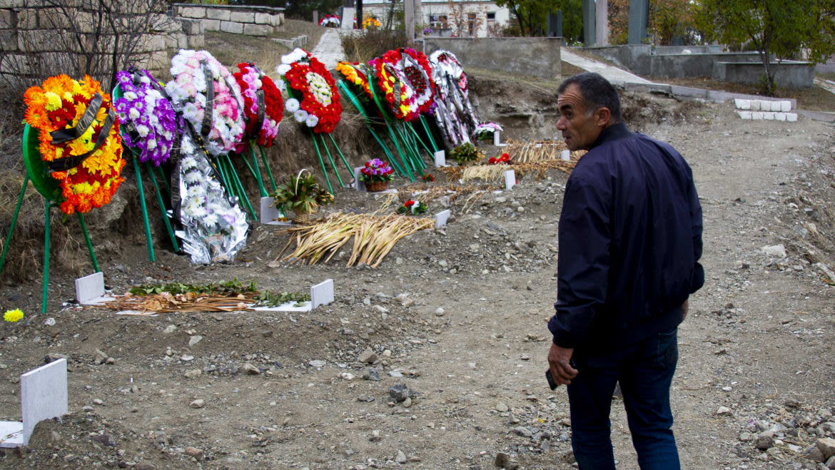 """<div class=""""inline-image__caption""""> <p>During the first was, gravedigger Martin Ghulyan was close to getting killed many times. Today, he faces yet another war and is worried that he will have to bury his son, who is fighting on the frontline.</p> </div> <div class=""""inline-image__credit""""> Emil Filtenborg </div>"""
