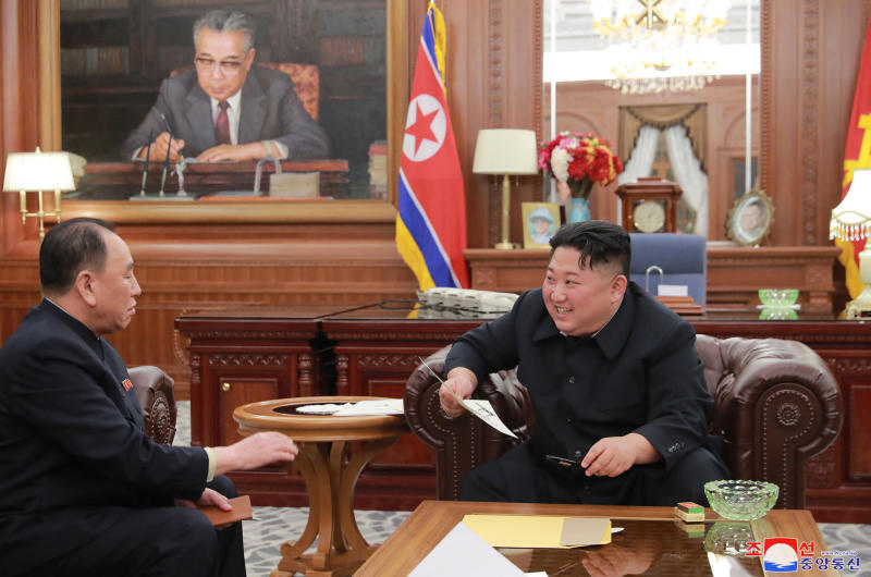 "In this Wednesday, Jan. 23, 2019, photo provided on Thursday, Jan. 24, 2019 by the North Korean government, North Korean leader Kim Jong Un, right, meets Kim Yong Chol, who traveled to Washington to discuss denuclearization talks, in Pyongyang, The North's Korean Central News Agency said Thursday that Kim Jong Un received a letter from U.S. President Donald Trump from the North Korean envoy who travelled to Washington and met Trump last week. North Korea. Independent journalists were not given access to cover the event depicted in this image distributed by the North Korean government. The content of this image is as provided and cannot be independently verified. Korean language watermark on image as provided by source reads: ""KCNA"" which is the abbreviation for Korean Central News Agency. (Korean Central News Agency/Korea News Service via AP)"