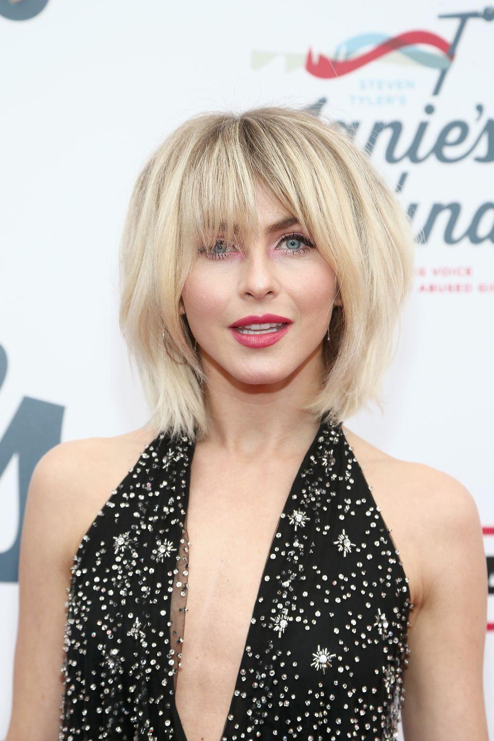 """<p>If you're going for more 0f a '60s-chic look, a sharp <a href=""""https://www.goodhousekeeping.com/beauty/hair/g2449/shag-haircuts-ideas/"""" rel=""""nofollow noopener"""" target=""""_blank"""" data-ylk=""""slk:shag haircut"""" class=""""link rapid-noclick-resp"""">shag haircut</a> with bangs is the perfect blend of retro and modern — and will totally look effortless and trendy no matter what kind of hair day you're having. </p><p><strong>RELATED: </strong><a href=""""https://www.goodhousekeeping.com/beauty/hair/g2703/vintage-hair-makeup-trends-now/"""" rel=""""nofollow noopener"""" target=""""_blank"""" data-ylk=""""slk:50 Vintage Beauty Trends That Are Back Again"""" class=""""link rapid-noclick-resp"""">50 Vintage Beauty Trends That Are Back Again</a></p>"""