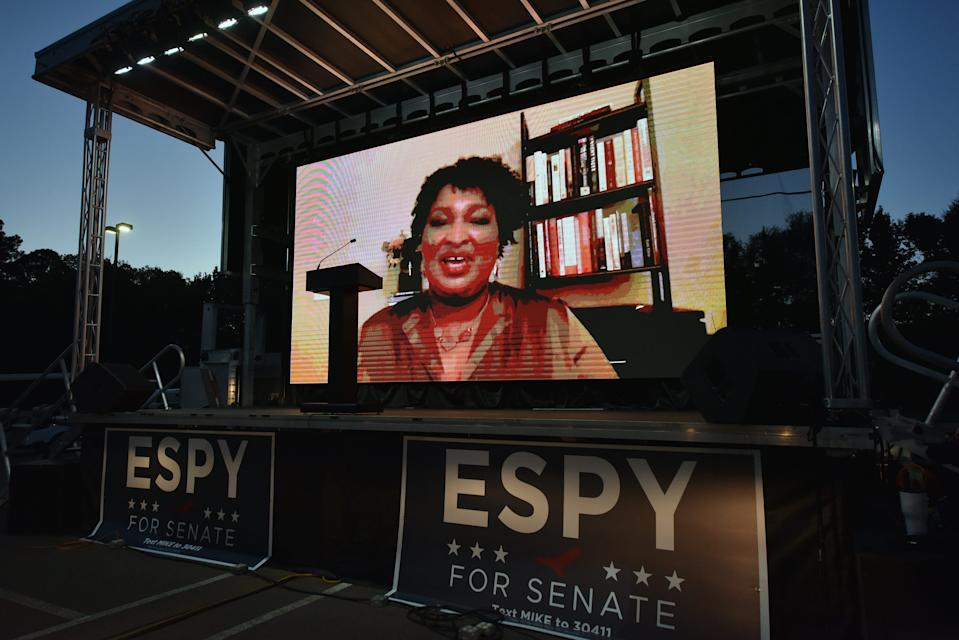 Voting rights activist and former Georgia politician Stacey Abrams joins a drive-in style campaign rally via live stream in support of Democratic U.S. Senate candidate Mike Espy. Espy faces incumbent Republican Sen. Cindy Hyde-Smith in the election Tues, Nov. 3, 2020.