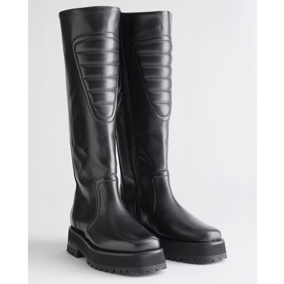 """The viral Zara boots are sold out, but this knee-high style from & Other Stories has the same vibe, and they're a touch more timeless. $279, & Other Stories. <a href=""""https://www.stories.com/en_usd/shoes/boots/knee-high-boots/product.topstitched-tall-leather-boots-black.0912691001.html"""" rel=""""nofollow noopener"""" target=""""_blank"""" data-ylk=""""slk:Get it now!"""" class=""""link rapid-noclick-resp"""">Get it now!</a>"""