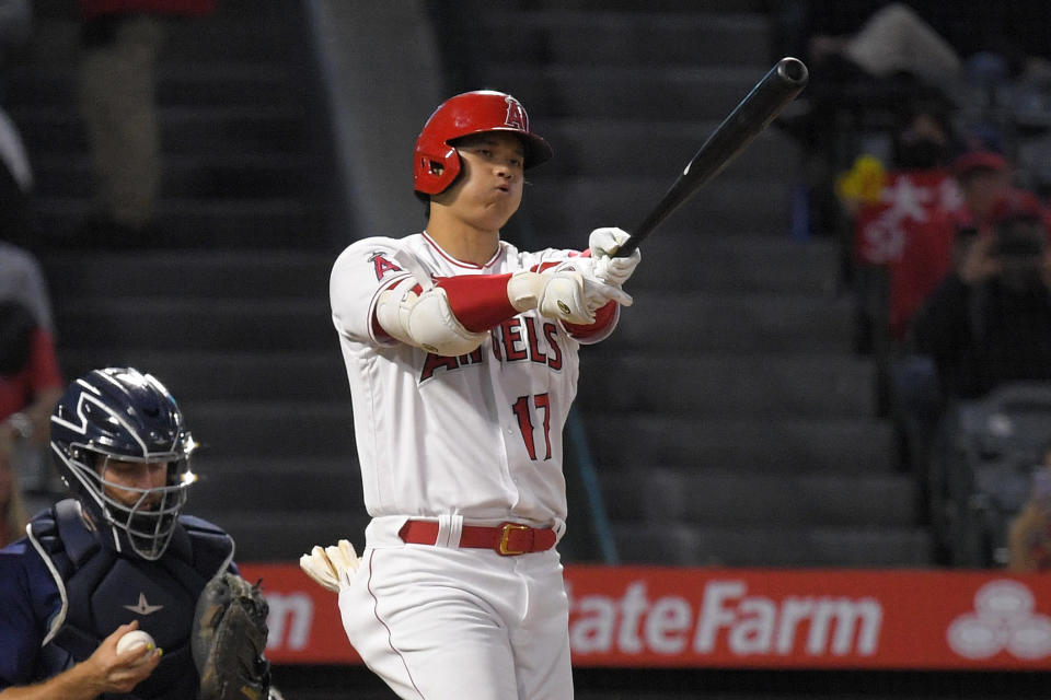 Los Angeles Angels designated hitter Shohei Ohtani strikes out during the first inning of a baseball game against the Seattle Mariners Friday, Sept. 24, 2021, in Anaheim, Calif. (AP Photo/Mark J. Terrill)