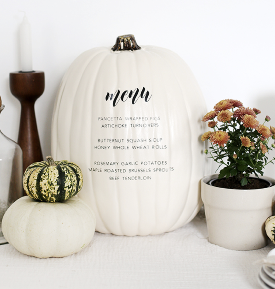 "<p>Your guests will know exactly what to expect from your food spread with this pumpkin menu. You can challenge yourself by hand painting your courses or follow <a href=""https://themerrythought.com/diy/diy-menu-pumpkin-2/"" rel=""nofollow noopener"" target=""_blank"" data-ylk=""slk:The Merrythought"" class=""link rapid-noclick-resp"">The Merrythought</a>'s lead and use vinyl lettering.</p><p><a class=""link rapid-noclick-resp"" href=""https://go.redirectingat.com?id=74968X1596630&url=https%3A%2F%2Fwww.michaels.com%2Fcream-craft-pumpkin-by-ashland%2F10638821.html&sref=https%3A%2F%2Fwww.delish.com%2Fholiday-recipes%2Fthanksgiving%2Fg33808794%2Fthanksgiving-decorations%2F"" rel=""nofollow noopener"" target=""_blank"" data-ylk=""slk:BUY NOW"">BUY NOW</a> <em><strong>Craft pumpkin, $14.99</strong></em></p>"