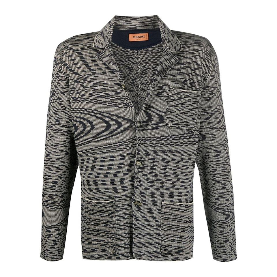 "<p><strong>Missoni</strong></p><p>farfetch.com</p><p><strong>$890.00</strong></p><p><a href=""https://go.redirectingat.com?id=74968X1596630&url=https%3A%2F%2Fwww.farfetch.com%2Fshopping%2Fmen%2Fmissoni-abstract-patterned-knitted-blazer-item-15043034.aspx&sref=https%3A%2F%2Fwww.esquire.com%2Fstyle%2Fmens-fashion%2Fg34463260%2Fbest-knit-blazers-men%2F"" rel=""nofollow noopener"" target=""_blank"" data-ylk=""slk:Shop Now"" class=""link rapid-noclick-resp"">Shop Now</a></p>"