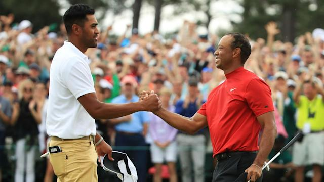 """Tiger Woods ended his 11-year wait for major glory at the Masters on Sunday and Tony Finau plans to tell his son: """"I was there""""."""