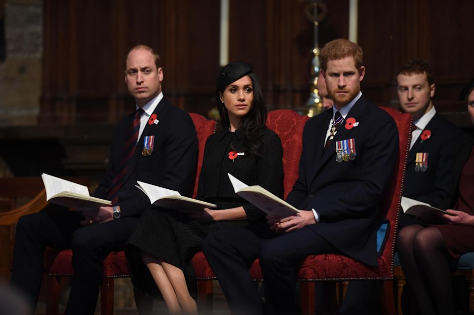 <p>A day after the birth of his third child, Prince William joined Meghan Markle and Prince Harry at the Anzac memorial service in Westminster Abbey </p>