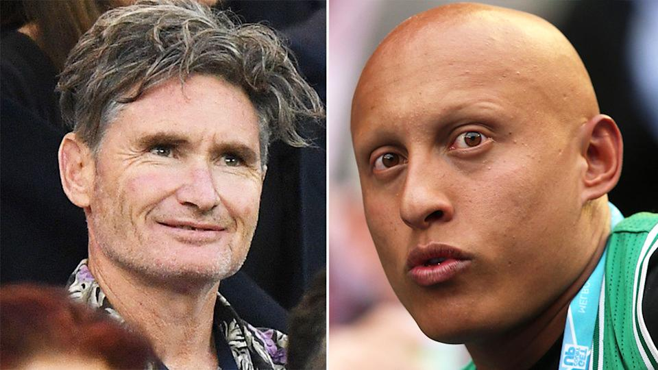 Dave Hughes (pictured left) at the tennis and Christos Kyrgios (pictured right) watching his brother at the tennis.