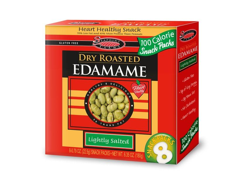 <div><span>Per Container</span>: 100 calories, 3 g fat (0.5 g saturated fat), 115 mg sodium, 8 g carbs (6 g fiber, 1 g sugar), 11 g protein</div>         When you're bored of almonds and you're ready to spice things up go for dry roasted edamame. These protein snacks provide you with 11 grams of protein, 6 grams of belly-filling fiber and only 100 calories. Free of stink, and filled with crunch these packs are an awesome office alternative.