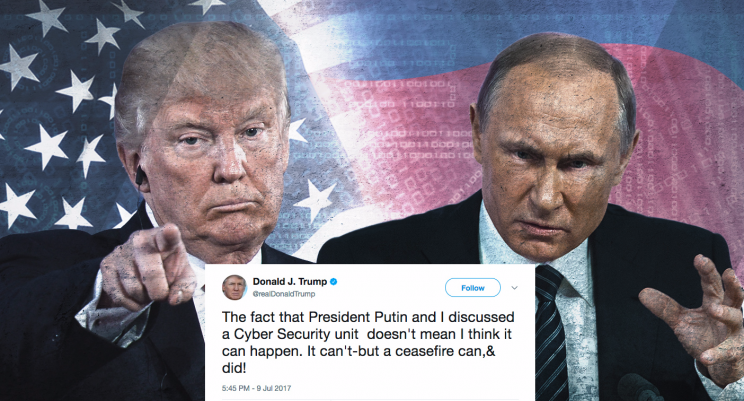 A photo illustration showing President Trump, President Putin, and one of Trump's tweet about a cyber security unit.