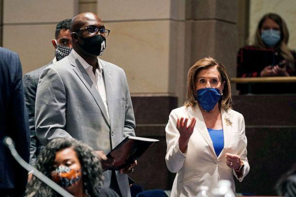 PHOTO: Philonise Floyd, a brother of George Floyd, and House Speaker Nancy Pelosi, arrive for a House Judiciary Committee hearing on proposed changes to police practices and accountability on Capitol Hill, June 10, 2020, in Washington, D.C. (Greg Nash/Pool via AP)