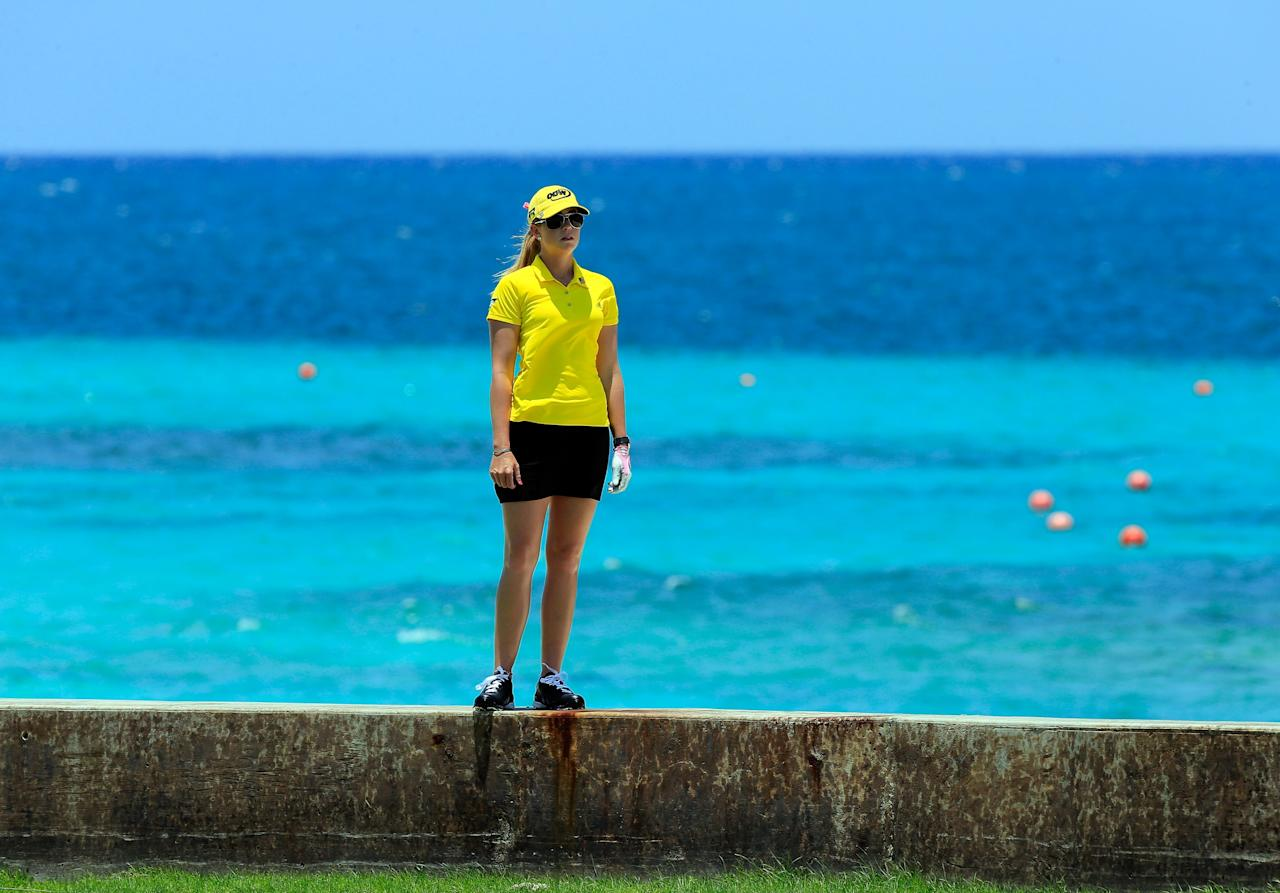 PARADISE ISLAND, BAHAMAS - MAY 25:  Paula Creamer waits to play a shot on the 8th hole during the second round of the Pure Silk-Bahamas LPGA Classic at the Ocean Club course on May 25, 2013 in Paradise Island, Bahamas.  (Photo by Sam Greenwood/Getty Images)