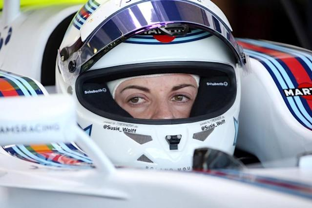 FILE PHOTO: Former Williams test driver Susie Wolff of Britain during practice at the 2015 British Grand Prix.