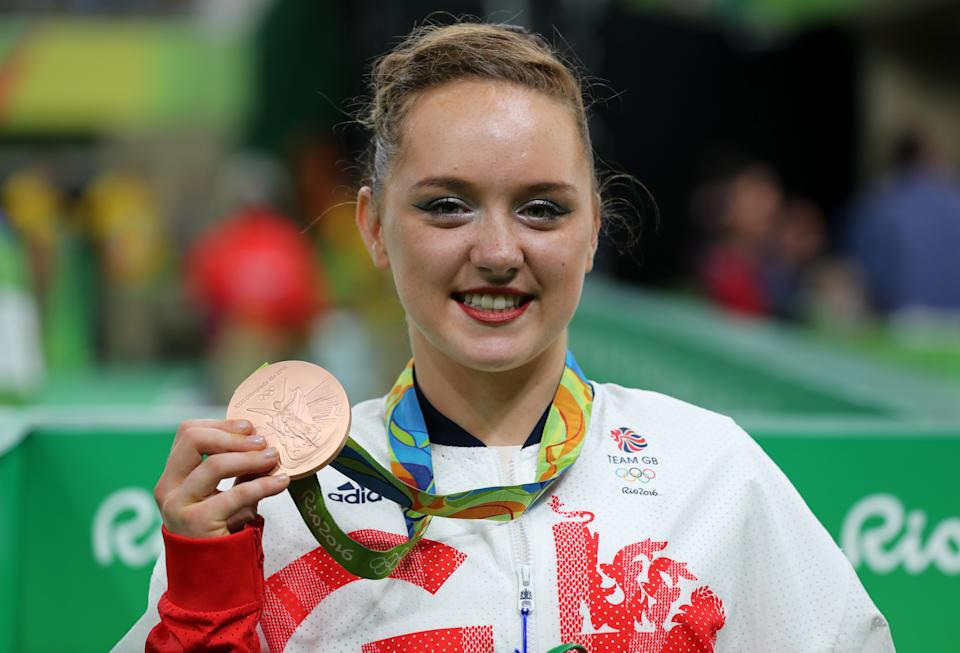 File photo dated 16-08-2016 of Great Britain's Amy Tinkler celebrates a bronze medal in the Women's Floor Exercise final at the Rio Olympics Games, Brazil.