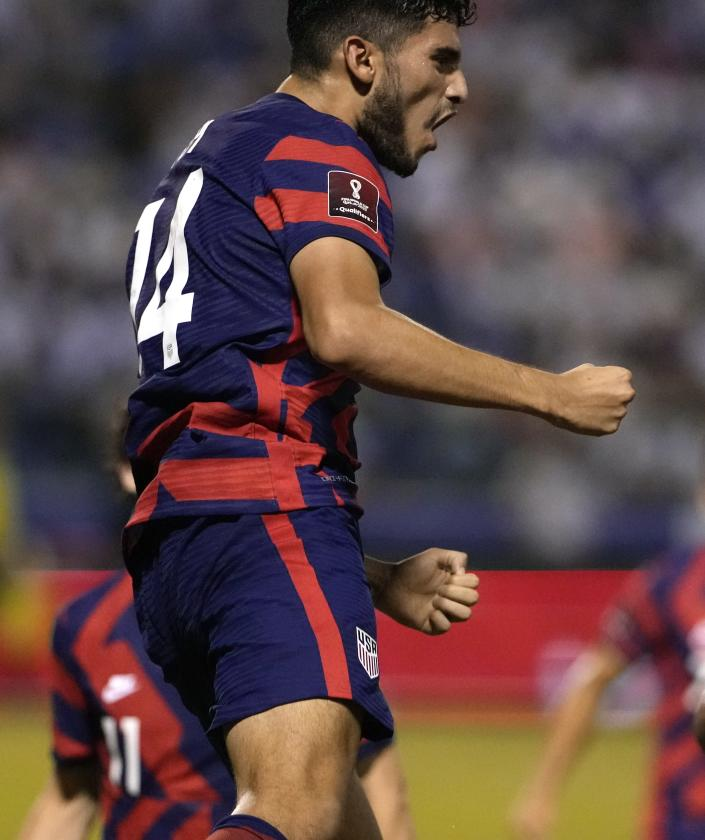 United States' Ricardo Pepi celebrates scoring his side's second goal against Honduras during a qualifying soccer match for the FIFA World Cup Qatar 2022, in San Pedro Sula, Honduras, Wednesday, Sept. 8, 2021. (AP Photo/Moises Castillo)