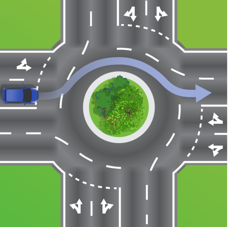 Blue car in graphic from Queensland Department of Transport and Main Roads using the right lane to travel straight through a roundabout.