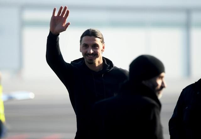 Zlatan Ibrahimovic a Linate (Photo by STR / AFP) (Photo by STR/AFP via Getty Images)