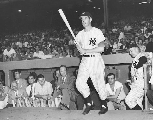 MLB Baseball - New York Yankees Joe DiMaggio in an undated file photo. (Photo by William C. Greene/Sporting News via Getty Images)