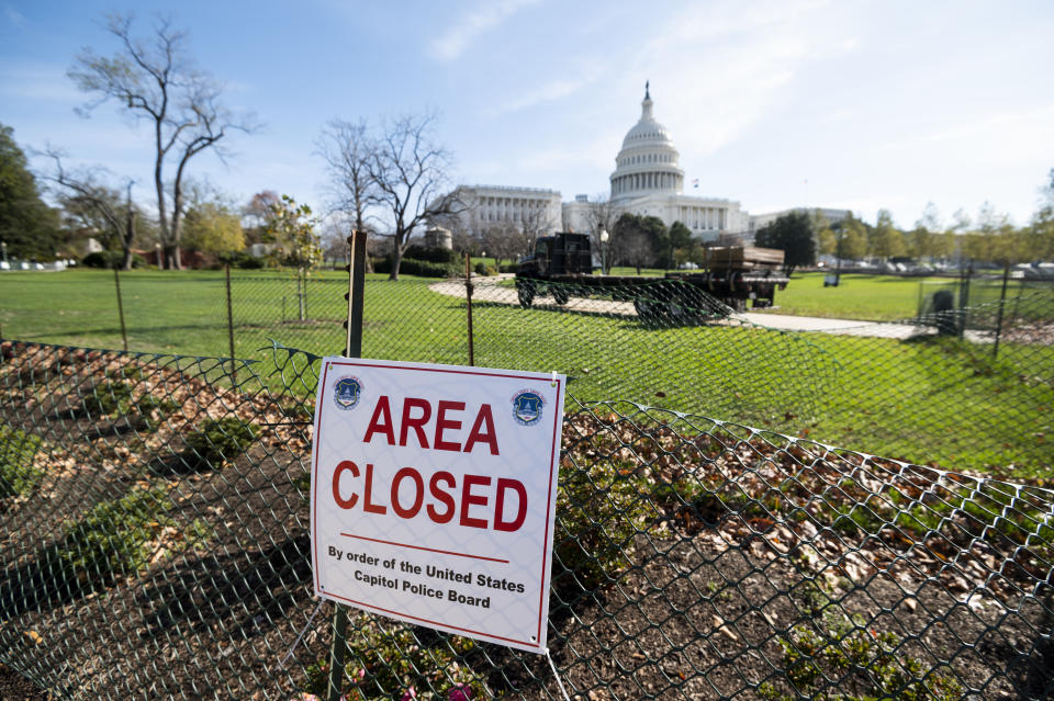UNITED STATES - NOVEMBER 19: Construction continues continue on the inaugural platform on the West Front of the U.S. Capitol on Thursday, Nov. 19, 2020, in anticpation of the Jan. 20, 2021 inauguration ceremony. (Photo By Bill Clark/CQ-Roll Call, Inc via Getty Images)