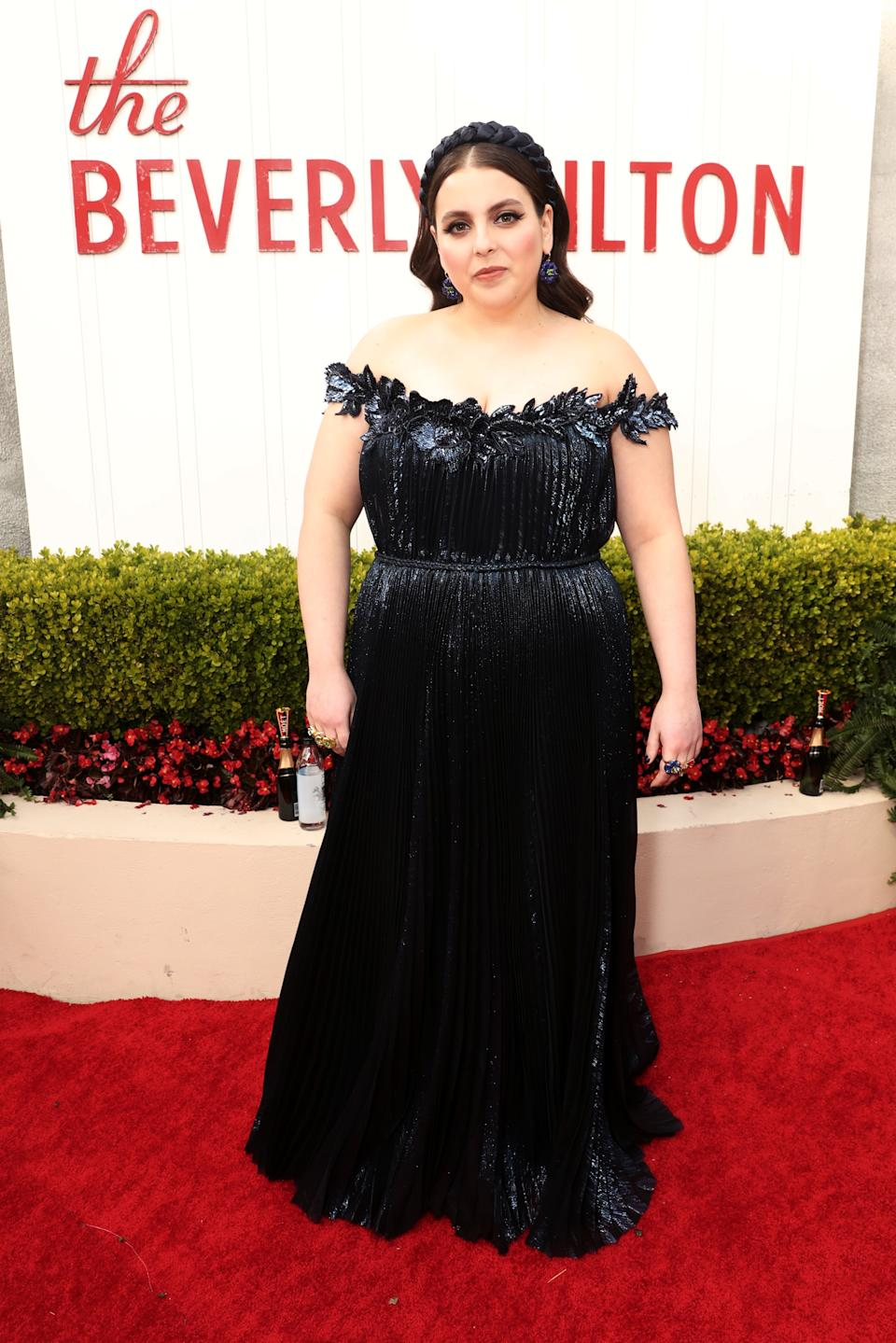 "<h1 class=""title"">Beanie Feldstein in Oscar de la Renta and Irene Neuwirth jewelry</h1><cite class=""credit"">Photo: Getty Images</cite>"