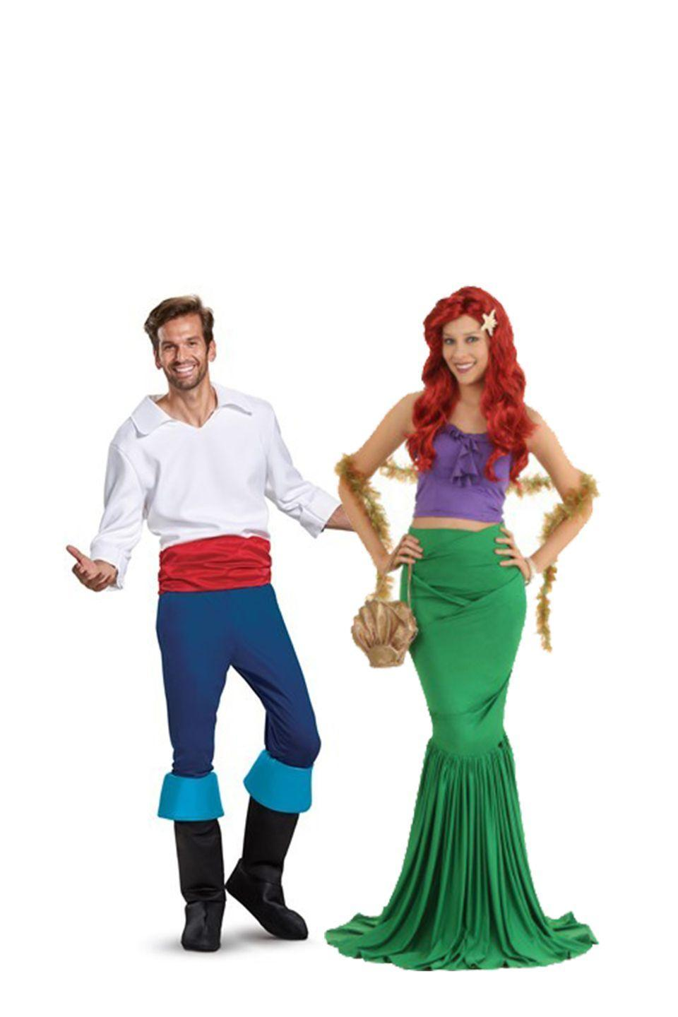 """<p>Dress up like a mystical mermaid for the night with your man by your side in this good-looking getup. Sea witch and loss of voice not included.</p><p><a class=""""link rapid-noclick-resp"""" href=""""https://go.redirectingat.com?id=74968X1596630&url=https%3A%2F%2Fwww.halloweencostumes.com%2Fadult-mermaid-costume.html&sref=https%3A%2F%2Fwww.womansday.com%2Fstyle%2Fg28691602%2Fdisney-couples-costumes%2F"""" rel=""""nofollow noopener"""" target=""""_blank"""" data-ylk=""""slk:SHOP ARIEL COSTUME"""">SHOP ARIEL COSTUME</a></p><p><a class=""""link rapid-noclick-resp"""" href=""""https://go.redirectingat.com?id=74968X1596630&url=https%3A%2F%2Fwww.halloweencostumes.com%2Fprince-eric-deluxe-adult.html&sref=https%3A%2F%2Fwww.womansday.com%2Fstyle%2Fg28691602%2Fdisney-couples-costumes%2F"""" rel=""""nofollow noopener"""" target=""""_blank"""" data-ylk=""""slk:SHOP PRINCE ERIC COSTUME"""">SHOP PRINCE ERIC COSTUME</a> </p>"""
