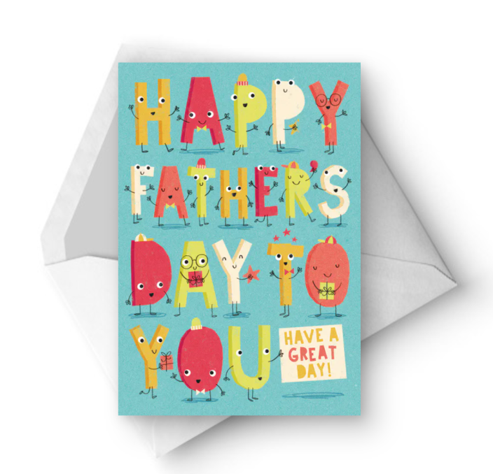 """<p>Even the letters on this cute card are excited to wish your dad a happy Father's Day. </p><p><strong><em>Get the printable at <a href=""""https://www.greetingsisland.com/preview/cards/lively-letters/94-17336"""" rel=""""nofollow noopener"""" target=""""_blank"""" data-ylk=""""slk:Greetings Island"""" class=""""link rapid-noclick-resp"""">Greetings Island</a>. </em></strong></p>"""