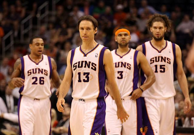 PHOENIX, AZ - MARCH 12: Steve Nash #13 of the Phoenix Suns walks up court with teammates during the NBA game against the Minnesota Timberwolves at US Airways Center on March 12, 2012 in Phoenix, Arizona. The Timberwolves defeated the Suns 127-124. NOTE TO USER: User expressly acknowledges and agrees that, by downloading and or using this photograph, User is consenting to the terms and conditions of the Getty Images License Agreement. (Photo by Christian Petersen/Getty Images)