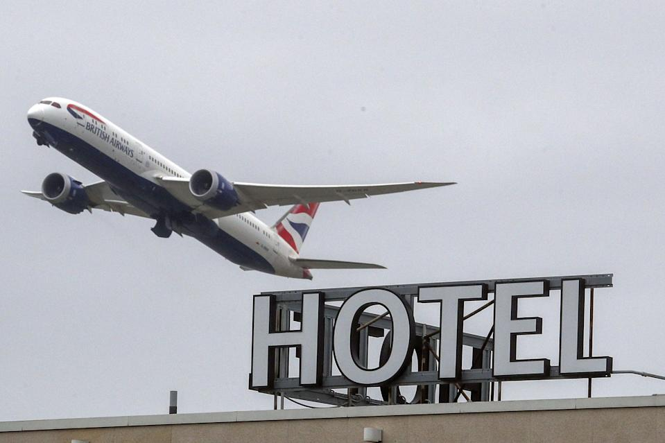 A plane passing over the Sofitel Hotel at Heathrow (file picture)PA