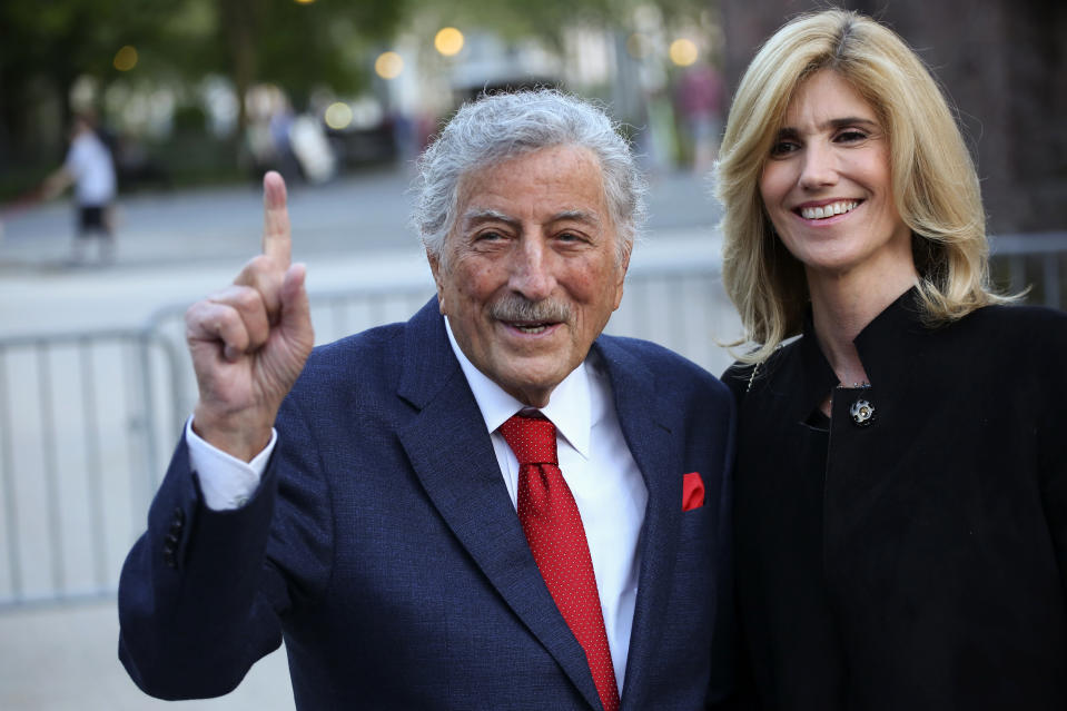 Tony Bennett and his wife Susan Crow arrive to the opening celebration of the Statue of Liberty Museum on Liberty Island at the Statue Cruises Terminal in Battery Park in New York on May 15, 2019. (Photo by Kena Betancur / AFP via Getty Images)