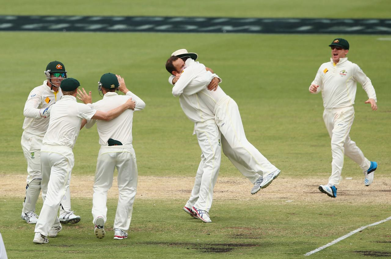 PERTH, AUSTRALIA - DECEMBER 17:  Nathan Lyon of Australia celebrates the wicket of Graeme Swann of England during day five of the Third Ashes Test Match between Australia and England at WACA on December 17, 2013 in Perth, Australia.  (Photo by Robert Cianflone/Getty Images)