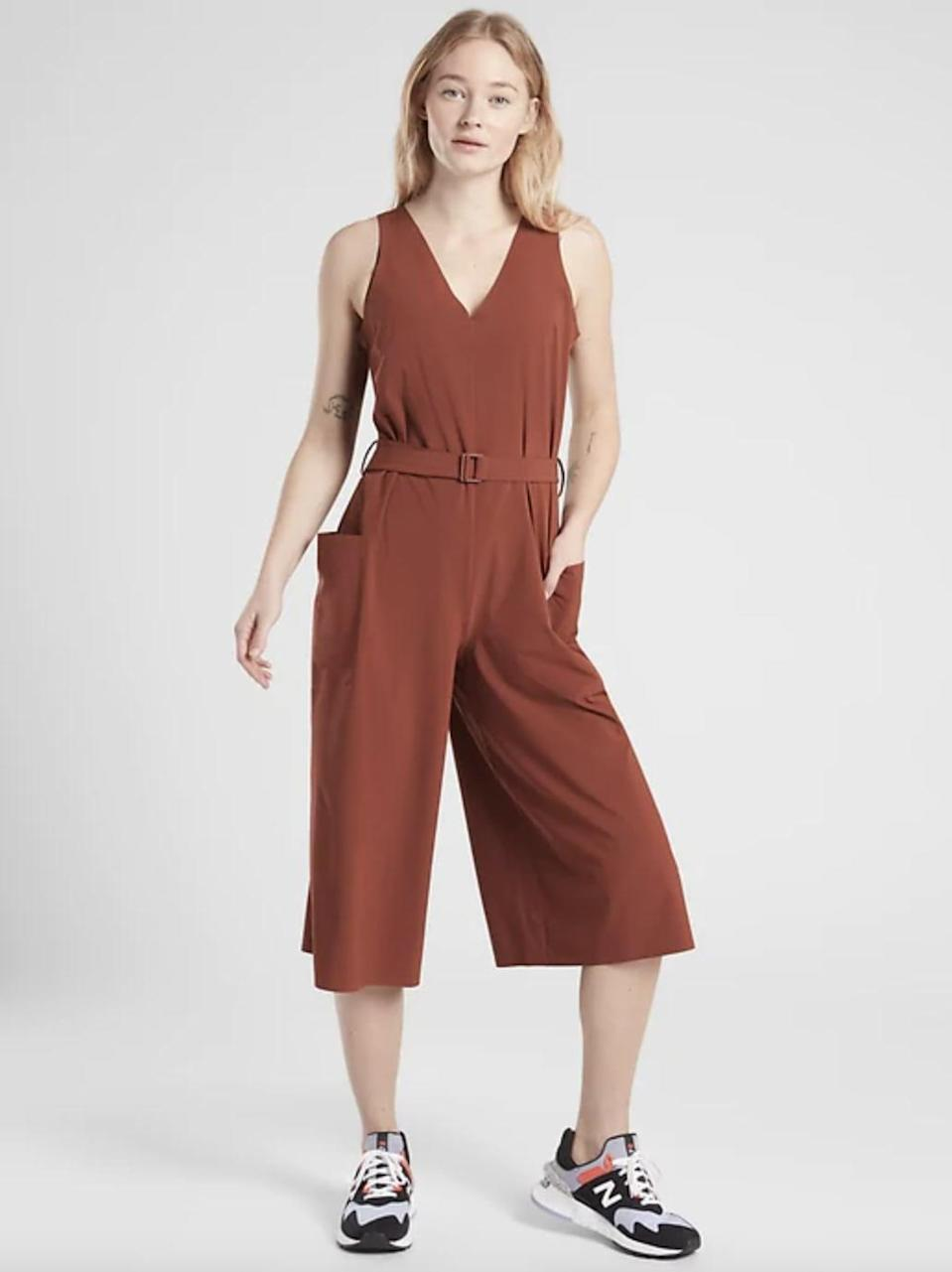 <p>This <span>Athleta Sarasota Jumpsuit</span> ($30, originally $148) is an awesome deal. You can wear it over a long-sleeve shirt and under a denim jacket when it gets chilly.</p>
