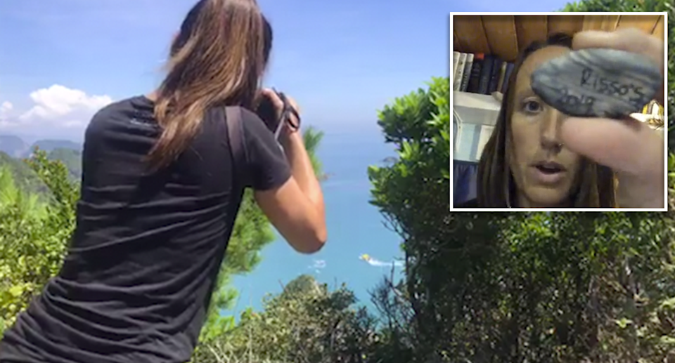 A woman photographs boats in the distance. An image in the corner shows a woman, Rachel Carbary, holding up a rock with Risso's 2019 written on it.