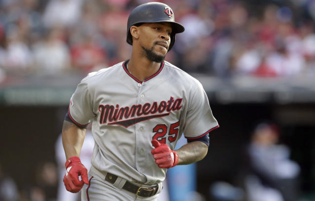 FILE - In this June 5, 2019, file photo, Minnesota Twins' Byron Buxton runs the bases after hitting a three-run home run in the second inning of the team's baseball game against the Cleveland Indians in Cleveland. The Twins have placed center fielder Buxton and his ailing left shoulder on the 60-day injured list, ending his season and leaving the American League Central leaders without their best defensive player for the rest of the pennant race. The Twins made the move on Tuesday, Sept. 10, before a three-game series against Washington. (AP Photo/Tony Dejak, File)