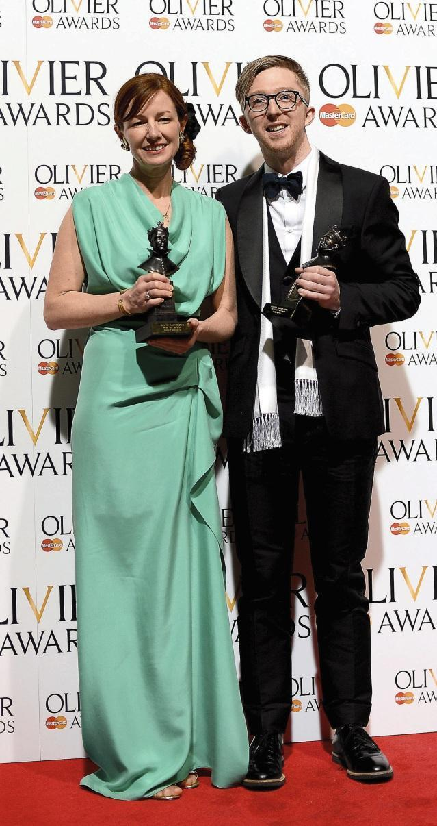 With Finn Ross, winnning an Olivier for The Curious Incident of the Dog in the Night-Time (Getty Images)